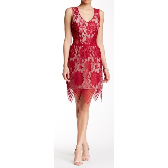 Tart Collections Dresses & Skirts - New Tart Collection Lila Lace Overlay Dress Red XS